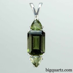 Faceted Moldavite Pendant in Sterling Silver, 38mm tall (Czech Republic #B645)
