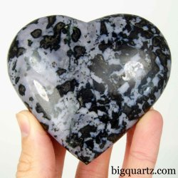 Indigo Gabbro Crystal Heart,  3.3 inches wide (Madagascar #B696)