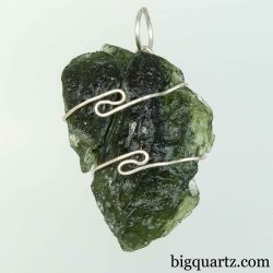 Moldavite Specimen Wrap Pendant, 30mm tall (Czech Republic #B758)