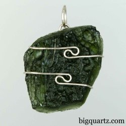 Moldavite Specimen Wrap Pendant, 27mm tall (Czech Republic #B760)