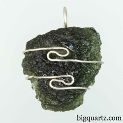 Moldavite Specimen Wrap Pendant, 23mm tall (Czech Republic #B761)