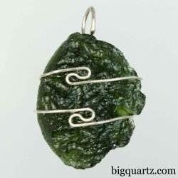 Moldavite Specimen Wrap Pendant, 26mm tall (Czech Republic #B762)