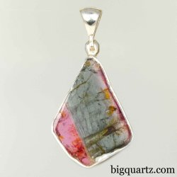 Watermelon Tourmaline Polished Slice Pendant in Sterling Silver (#B795)