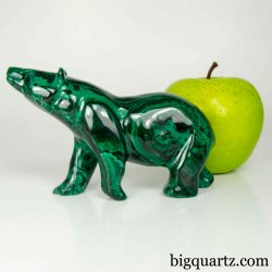 Malachite Bear Sculpture, 5 inches long, 1 pound weight (Congo #B807) *VIDEO*