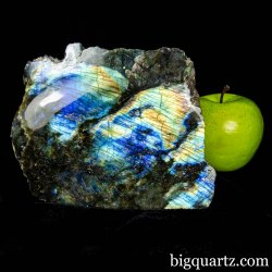 Labradorite Half-Polished Half-Raw , 6 inches wide, 5.8 pounds weight (Madagascar #B825) *VIDEO*