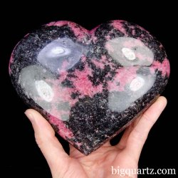 Large Rhodonite Crystal Heart, 5.75 inches wide, 3.4 pounds weight (Madagascar #B904)