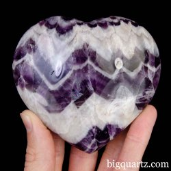 Chevron Amethyst Crystal Heart, 3.75 inches wide (Madagascar #B908)