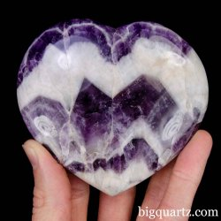 Chevron Amethyst Crystal Heart, 3.5 inches wide (Madagascar #B910)
