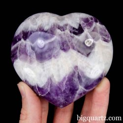 Chevron Amethyst Crystal Heart, 3.3 inches wide (Madagascar #B912)