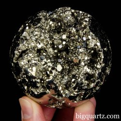 Pyrite Crystal Sphere, 2.6 inches, 1.4 pounds weight (Peru #D025) *VIDEO*