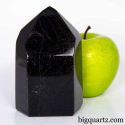 Black Tourmaline Crystal Point Sculpture, 4 inches tall, 1.4 pounds (Brazil #D208)