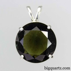 Faceted Moldavite Large Round Pendant in Sterling Silver, 22mm tall (Czech Republic #D326)
