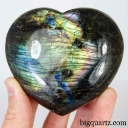 Labradorite Crystal Heart Sculpture, 3.3 inches wide (Madagascar #D387)