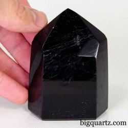 Black Tourmaline Crystal Point Sculpture, 2.8 inches tall, 0.6 pounds (Brazil #D418)