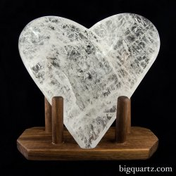 Clear Quartz Sculpted Heart Bowl with Custom Stand (Brazil #6672) 5.6 pounds