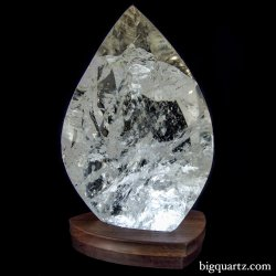 "Large Quartz Crystal Flame on ""Points of Light"" Illuminated Stand. 20 inches tall (Brazil #134)"