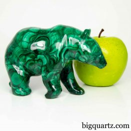 Malachite Bear Sculpture, 5 inches long, 2.1 pounds (Congo #B806) *VIDEO*