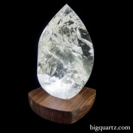 "Large Quartz Crystal Flame on ""Points of Light"" Illuminated Stand (Brazil #138) 12.25 inches tall"