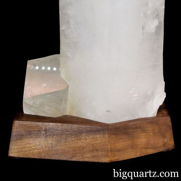 Extra Large Natural Quartz Crystal Point with Wooden Stand (Brazil #50) 38 pounds