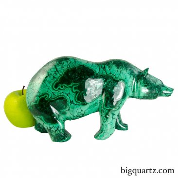 Large Malachite Bear Sculpture (Congo, #9195) 9.8 pounds