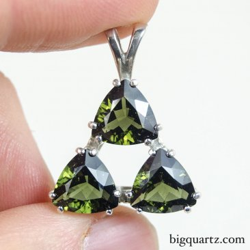 Large Faceted Moldavite Triple Triangle Pendant in Sterling Silver, 28mm tall (Czech Republic #B670)