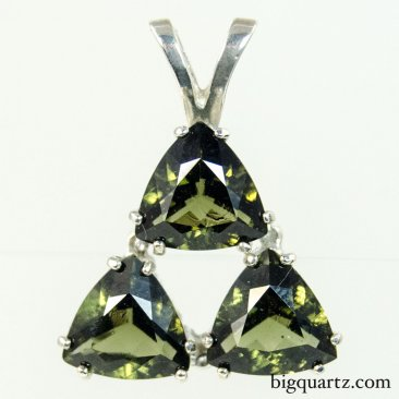 Faceted Moldavite Triple Triangle Pendant in Sterling Silver, 22mm tall (Czech Republic #B675)