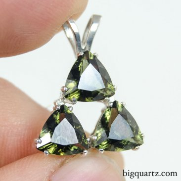 Faceted Moldavite Triple Triangle Pendant in Sterling Silver, 22mm tall (Czech Republic #B673)