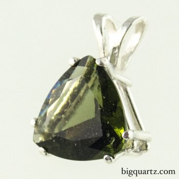 Faceted Moldavite Pendant in Sterling Silver (Czech Republic #B589)