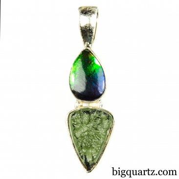 Ammolite and Moldavite Crystal Pendant (Sterling Silver, #A054)