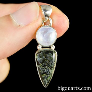 Moonstone and Moldavite Crystal Pendant (Sterling Silver, #A172)