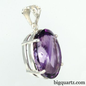 Faceted Amethyst Gemstone Pendant (Sterling Silver, #A247)