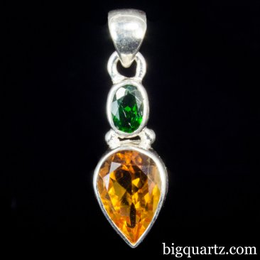 Amber and Chrome Diopside Crystal Pendant (Sterling Silver, #A250)