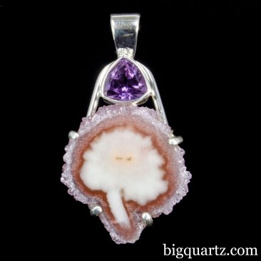 Agate and Faceted Amethyst Gemstone Pendant (Sterling Silver, #A254)
