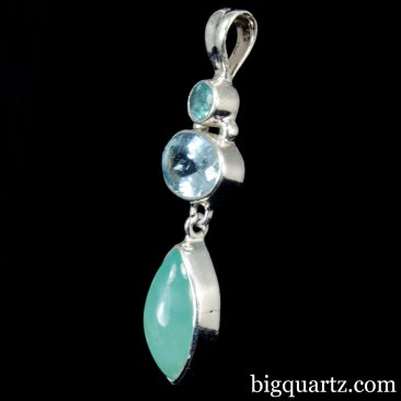 Aquaprase and Aquamarine Gemstone Pendant (Sterling Silver, #A256)