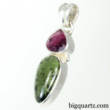 Polished Moldavite and Faceted Rubellite Crystal Pendant (Sterling Silver, #A268)