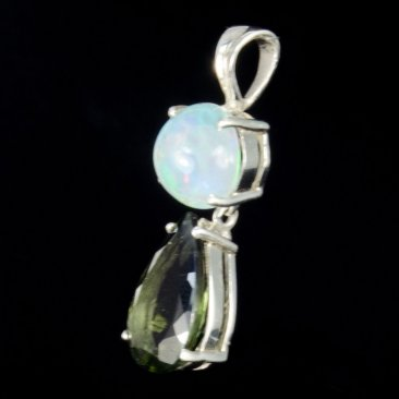 Precious Opal and Polished Moldavite Pendant (Sterling Silver, #A333)
