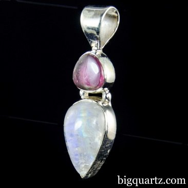Watermelon Tourmaline & Moonstone Crystal Pendant (Sterling Silver #A147)