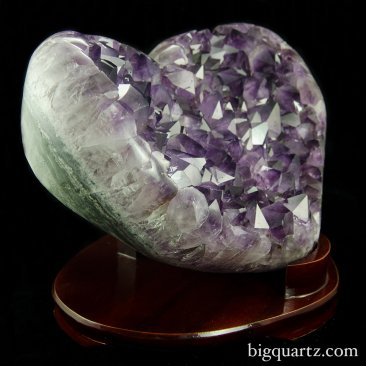 Large Amethyst Crystal Geode Heart with stand (Brazil #8410) 13.5 inches wide (SOLD)