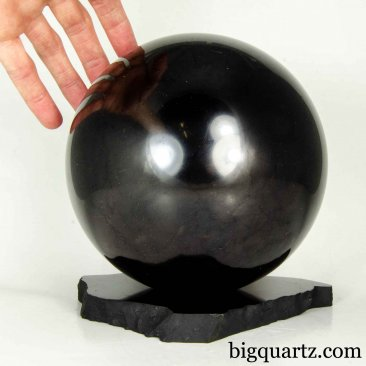 Extra Large Shungite Sphere w/ Shungite Stand (#B605 Russia) 6 inches diameter / 10.8 pounds total weight