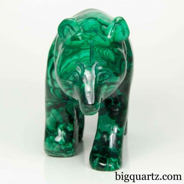 Malachite Bear Sculpture, 5 inches long, 2.1 pounds (Congo #B806)
