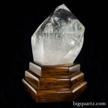 Extra Large Polished Quartz Crystal Point w/ Custom Wooden Light Stand. 21 inches tall (Brazil #8559)